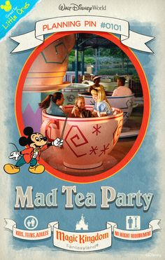 Walt Disney World Planning Pins: Mad Tea Party is inspired by the Mad Hatter's party sequence in Walt Disney's animated classic Alice in Wonderland.