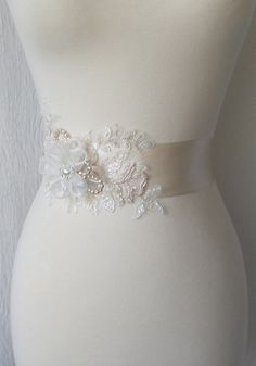 Pale Champagne Bridal Sash Wedding Gown Belt With Pearls And Lace