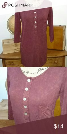 DISTRESSED TSHIRT DRESS Boho T-shirt dress. Distressed maroon.  Pocket and 5 button accent  No trades. pol Tops Tees - Long Sleeve