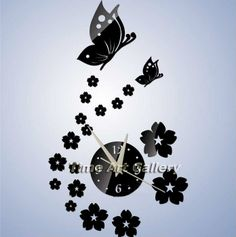 Toprate(TM) Beautiful Butterfly and Flowers Wall Clock Fashion Mirror Wall Clock Removable DIY Acrylic Mirror Wall Decal Wall Sticker Decoration (Black) -- Awesome product. Click the image : home diy wall Wall Clock Sticker, Mirror Wall Clock, 3d Mirror Wall Stickers, Wall Clock Design, Wall Clocks, Diy Mirror, Wall Decal, Mirror Art, Decoration Stickers