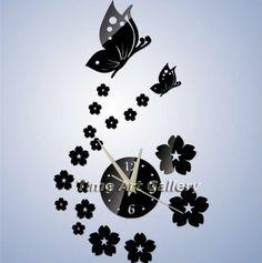 Decoraciones para el hogar! Mariposa& floral efecto espejo reloj de pared de diseño moderno, reloj de la decoración de la pared de la sala, sin gastos de envío! F7