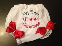 My First Christmas Bloomer/diaper cover by Fancydancyboutique, $10.50