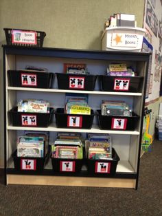 Leveled library with Mickey/Minnie lettered labels