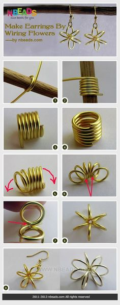 Make earrings by wiring flowers! Cute.