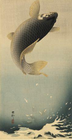Ohara Koson (Shoson),(1877 - 1945) - Leaping Carp