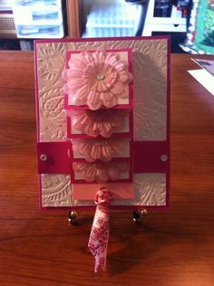 Fabric flower waterfall card