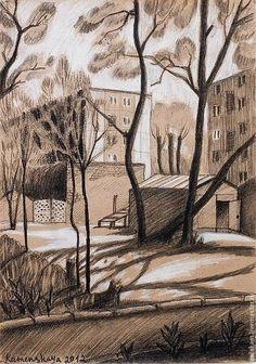 Дворик, графика,26х37 - графика,город,городской пейзаж,дворик,коричневый