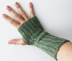 Crocheted wrist-warmers. These are pretty much a tube with a thumb hole so no (or not much) shaping here.