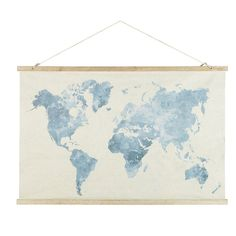 World Map Print Kakemono 130 x 113 cm Watercolor Map Watercolor Map, Back Gardens, Baby Boy Nurseries, Decoration, New Trends, Home Projects, Vintage World Maps, Tapestry, Drawings