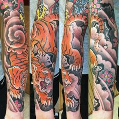 Guys Forearm Sleeve Japanese Tiger Tattoos