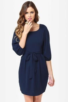 Cute Navy Blue Dress with a Statement Necklace and Killer Heels. $43.00