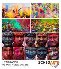 Festa induista di Lathmar Holi, India    La tradizione di gettarsi addosso polveri colorate e profumate, dette gulal, è l'aspetto più famoso e caratteristico della festa di Holi, chiamata anche Festa dei colori, e trova le sue ragioni nella mitologia induista: Krishna aveva la pelle scura, era invidioso di quella bianca di Radha, la sua amata, per questo un giorno le dipinse la faccia con dei colori. Da allora le coppie di innamorati si dipingono reciprocamente il viso in segno di affetto.
