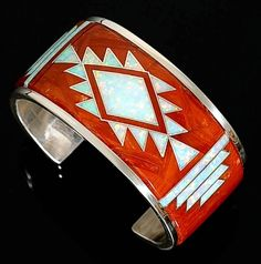 Native American Sterling Red Coral Opal Inlay Bracelet
