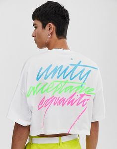 31d7e58fac96f ASOS DESIGN x glaad& unisex cropped t-shirt with embroidery | ASOS