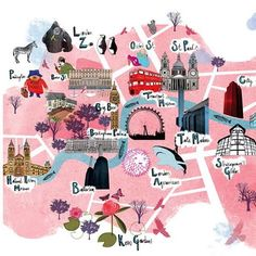 cute tourist map illustration with major sights in london London Map, London Travel, London City, Travel Maps, Travel Posters, Travel City, Travel Europe, Tourist Map, Travel Illustration