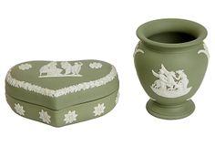 Green Wedgwood Vase & Trinket Dish