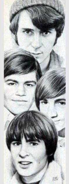 Gorgeous sketch of the Monkees, shared on R.I.P Davy Jones Facebook page
