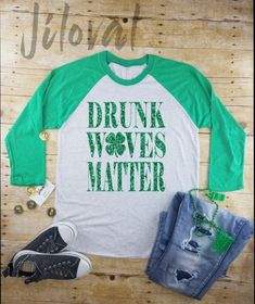 a707a21f St Patricks Day womens Long Sleeve|Drunk Wives Matter||drinking  raglan|drinking tee|Irish shirt|Beer shirt|st paddys day| Shamrock Shirt