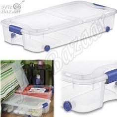 UNDER BED STORAGE Containers Shoe Clothes Bin Box Closet Organizer 66 Qt 4 Pack #Sterilite eBay