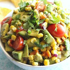 This corn and avocado salsa is full of fresh and colorful flavors. It's perfect served with chips, or try it as a yummy topping for grilled chicken or fish!