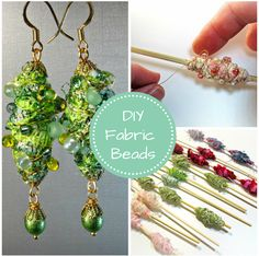 Wire Wrapped Fabric Beads - DIY Tutorial from BluKatKraft - - Wire Wrapped Fabric Beads – DIY Tutorial from BluKatKraft earrings Drahtgewickelte Stoffperlen – DIY Tutorial von BluKatKraft Paper Jewelry, Textile Jewelry, Fabric Jewelry, Jewelry Crafts, Beaded Jewelry, Diy Jewelry Tutorials, Beading Tutorials, Fabric Beads, Paper Beads