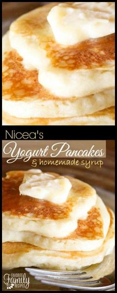 Nicea's Yogurt Pancakes with Homemade Syrup are the best pancakes ever! The yogurt in the pancakes and in the syrup gives both a rich texture and flavor. via @favfamilyrecipz