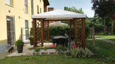 Gazebo CLASSICO legno autoclavato 364 x 304 cm -Telo PVC + 8 grigliati
