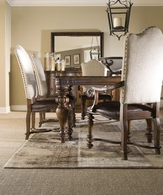 Amazing Wooden Upholstered Nailhead Side Dining Chair And Carving Wooden  Leg Dining Table Also Black Wooden