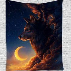 Fantasy Wolf Tapestry - 150x130cm