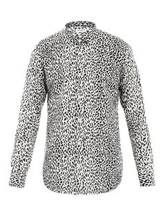 Saint Laurent Leopard-print cotton-voile shirt
