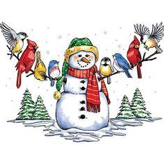 Snowman & Winter Birds T-Shirt Christmas Bird, Felt Christmas Ornaments, Christmas Animals, Winter Christmas, Vintage Christmas, Christmas Windows, Art Vintage, Vintage Clip, Vintage Images