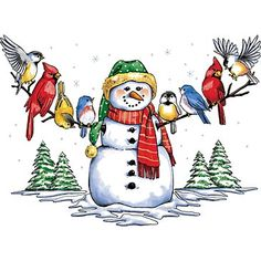 Vintage Winter Clip Art | Snowman & Winter Birds T-Shirt - ChoiceShirts T-Shirt Review
