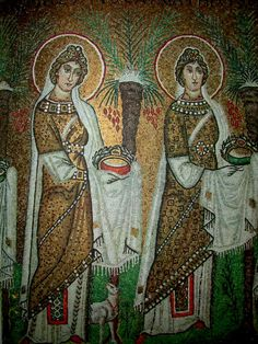Ravenna, Sant' Apollinaire Nuovo, mosaic of female saints in procession. Sicis Mosaic, Ravenna Mosaics, Byzantine Art, Byzantine Mosaics, Empire Romain, Orthodox Icons, Medieval Art, Sacred Art, Kirchen
