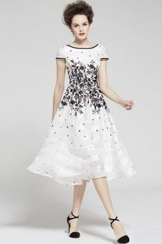 Floral Print Midi Chiffon Dress $108.00 by Migle