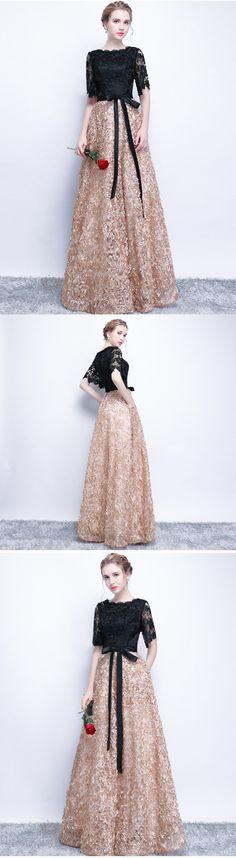 A-line Bateau Floor-length Half sleeve Tulle Prom Dress/Evening Dress # VB420 #fashion #shopping #popular #Appliques #Lace #belt #Evening #Long #Prom