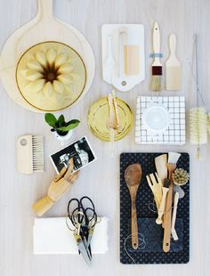 Pic with most of the musts in a Scandinavian product styling: washi tape, scissors, wooden hand, brushes, cutting board. What's the focus? The stuff in the center? Just asking ;-)     TINA HELLBERG
