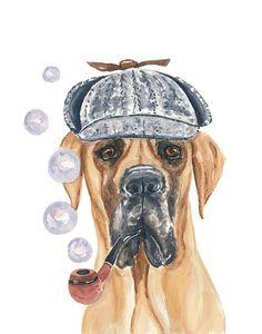 Dog Watercolor PRINT, Great Dane - 8x10 PRINT, Bubbles, Sherlock Holmes, Victorian