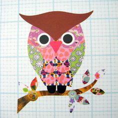Such a cute owl  for a child's room ... he shouldn't be too tough to replicate using scraps of brightly coloured wrapping paper