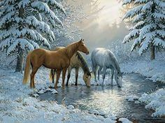 """"""" Sunlit Stream """" - Horses - by Persis Clayton Weirs  :)"""