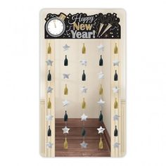 Black, Silver & Gold Happy New Year Doorway Curtain Decoration