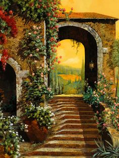 """Guido Borelli """"I am a true lover of nature and of everything gentle. My landscapes and houses combine reality and imagination. First, I store in my mind all views that I find interesting. Later, when I need a subject, those views resurface in my memory, and I paint what I selectively remember of them, with intrinsically personal modifications."""" – Guido Borelli"""
