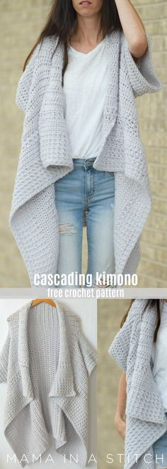 This super easy crocheted kimono is so pretty. A simple, free pattern includes p… This super easy crocheted kimono is so pretty. A simple, free pattern includes photos on how it's assembled by via Mama In A Stitch Knit and Crochet Patterns – Jessica Gilet Kimono, Kimono Cardigan, Poncho Sweater, Hooded Sweater, Kimono Top, Pull Crochet, Knit Crochet, Crochet Cats, Crochet Birds