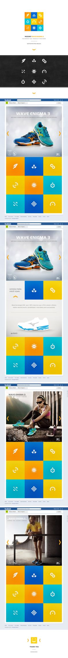 Facebook tab design for the launch of Wave Enigma 3 by Mizuno. Project by SapientNitro Brazil by Raphael Sonsino, via Behance