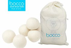 6 XL Organic Wool Tumble Dryer Balls - Premium 100% New Zealand Virgin Wool - Eco-Friendly Natural Fabric Softener- Perfect for Baby Clothes, Cloth Nappies or Daily Laundry