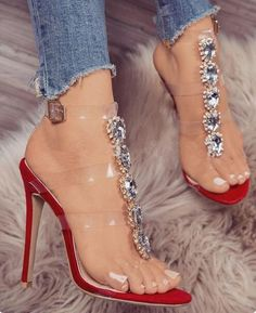 486596cfb0 Luxury crystal buckle strap sandals fashion week style women rhinestone  knee high boots sandals clear high heels party shoes