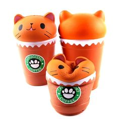 Relieve all your stress by squeezing this super slow rising Cappuccino Coffee Cat Squishy! What a cute kitty in a large coffee cup!
