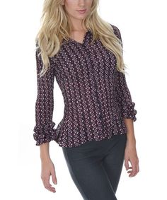 This Pink & Gray Diamond Print Button-Up Top by Cathaya is perfect! #zulilyfinds