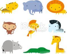 Jungle animals themes icon set Artes e ilustrações vetoriais livres de royalties
