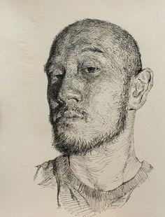 Pen artist Sam Kim (Korean: 1981) | Self-portrait | Pen drawing (2012)