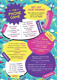 "Free printable: Easy, simple  ""The Phone Game""! Hen party game idea - 90s design - involving guests' mobile or cellphones."